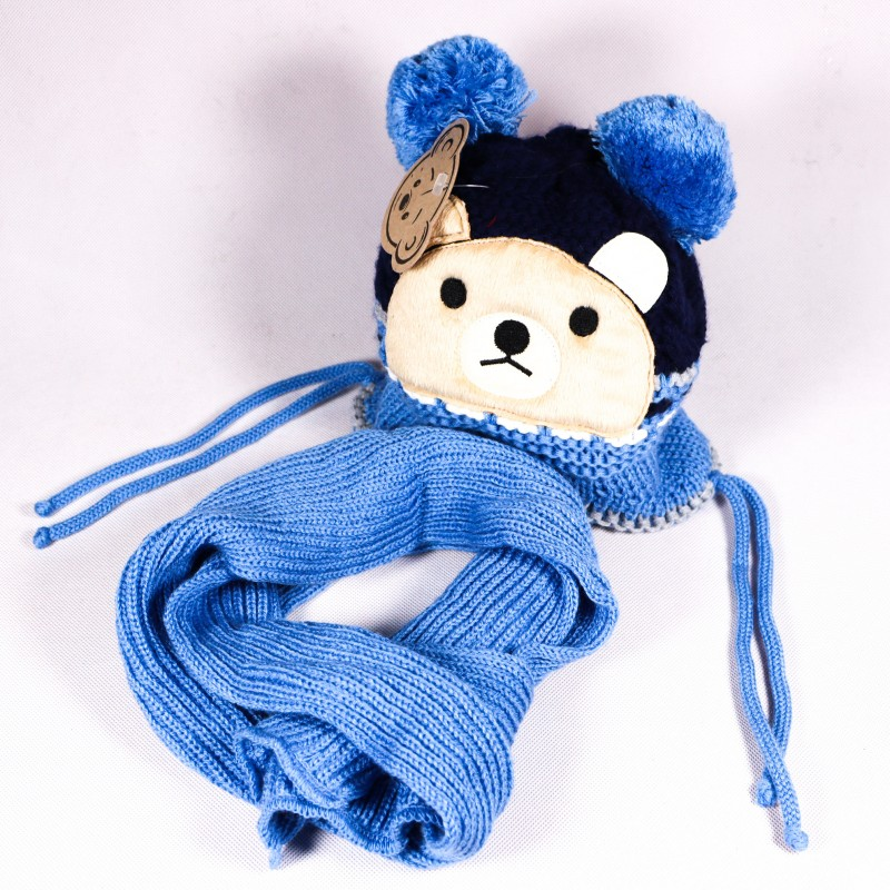 Zimní dětská čepice + šála Matyas ZCDE010 modrá
