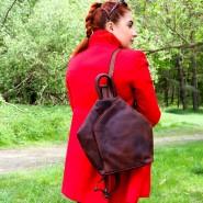 Kožený batoh 2v1 taška Green wood Andrea vp033
