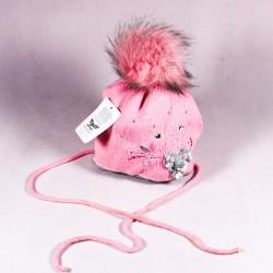 Zimní dětská čepice Lila ZCDE007 růžová, šedá