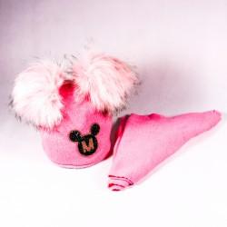 Zimní dětská čepice + šála Audrey ZCDE012 růžová