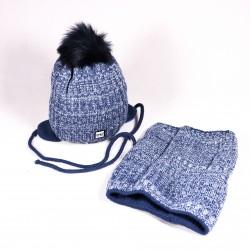 Zimní dětská čepice + šála Jacob ZCDE011 modrá